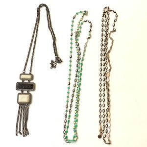Long Necklace Bundle Lot Black Ivory Green Yellow